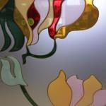 Заливной витраж на матовом стекле С-182, контур - золото на матовой стороне