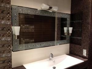 Зеркало для ванной с пескостр. рисунком