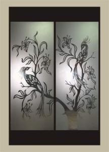 Рисунок на зеркале, фон-матовый (Райские птицы, стр 15, каталог1)